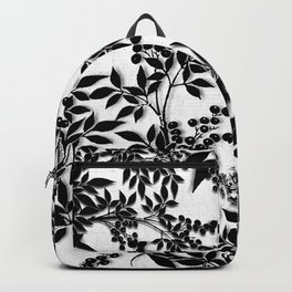 Toile Black and White Tangled Branches and Leaves Backpack