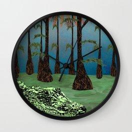 Louisiana Lazy - Cypress Swamp Alligator Wall Clock