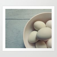 eggs Art Prints featuring eggs by messy bed studio
