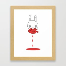 Hungry Bunny - funny cartoon drawing of cute bunny rabbit eating a heart of unknown provenance Framed Art Print