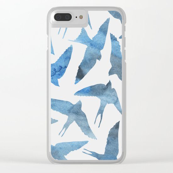 Watercolor blue birds Clear iPhone Case
