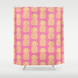 Mid Century Modern Pineapple Pattern Pink and Yellow Shower Curtain