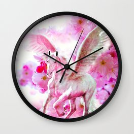 HORSE PINK FANTASY CHERRY BLOSSOMS Wall Clock