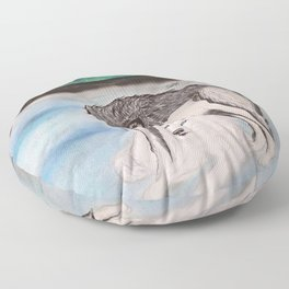 """Northern Lights & """"I Wolves You"""" Nights Floor Pillow"""