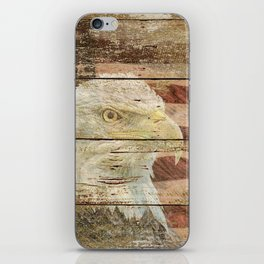 Rustic Bald Eagle Bird American Flag Patriotic Country Art A167 iPhone Skin