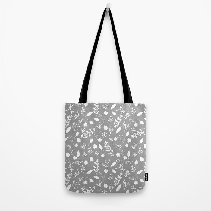 Floral Grey White Tote Bag