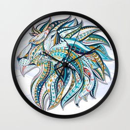 Zentangle head of the lion on the grunge background Wall Clock