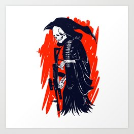 Military skeleton - grim soldier - gothic reaper Art Print