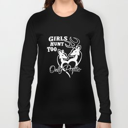 Womens Girl's Hunt Too New Brown Buck Doe Couple Fun For Southern Belle Hunt T-Shirts Long Sleeve T-shirt