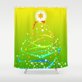 Ribbon and Star Christmas Tree Shower Curtain