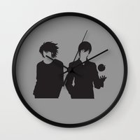 death note Wall Clocks featuring Death Note by the minimalist