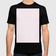 Diagonal Lines (Pink/White) Black MEDIUM Mens Fitted Tee