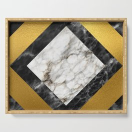 Gold foil white black marble #5 Serving Tray