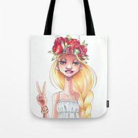 hippie Tote Bags featuring Hippie by Meldoodles