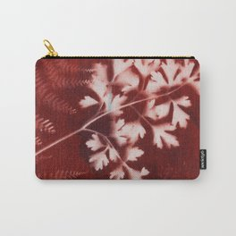Brown Printed Leaves Carry-All Pouch