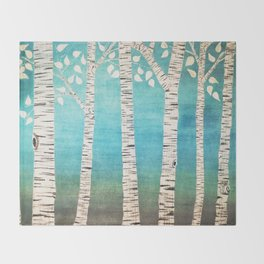 Turquoise birch forest Throw Blanket