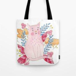 Pink, Flowery, Cute Cat Tote Bag