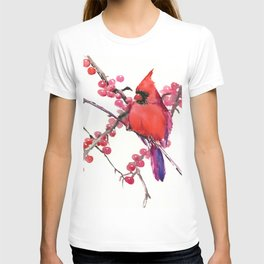 Red Cardinal and Berries, Christmas Red design Christmas Decor Gift T-shirt