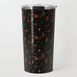 Green, Red-Orange, and Black Floral/Botanical Print Travel Mug