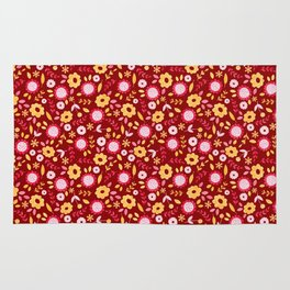 Autumn floral - red Rug