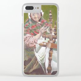 Old Irish Woman Sitting At A Spinning Wheel Clear iPhone Case