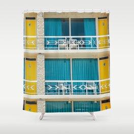 Retro Hotel Print Shower Curtain