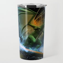Funny surfing dragon Travel Mug