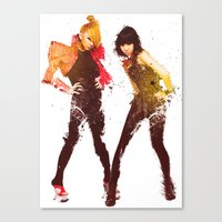 2ne1 Canvas Prints featuring 2NE1 CL & Minzy by Margot Park