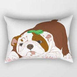 Tuff Puppy in Green Bow Rectangular Pillow