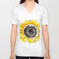 sunflower V-neck T-shirts featuring Sunflower by Regan's World