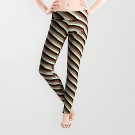 Brown, Dark Grey, Light Yellow, and Black Colored Striped/Lined Pattern Leggings