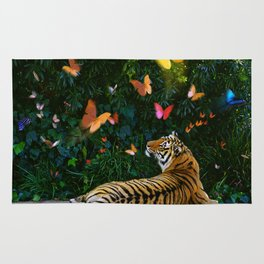 Tiger's Butterfly Friends Rug