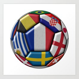 Russia 2018 - football ball with various flags Art Print