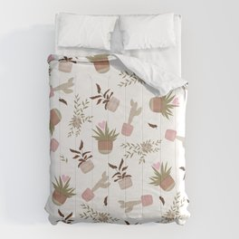Cute house plants cactus succulents pattern illustration Comforters