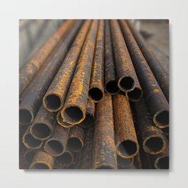 Rusty Pipes Metal Print