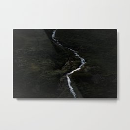 Dark forest with waterfall on the side of a mountain in Norway - Landscape Photography Metal Print