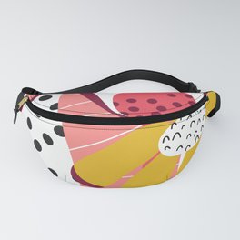 Collage Flowers pink, gold, white, black Fanny Pack