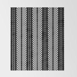 Geometric Black and White Herringbone Tribal Pattern Throw Blanket