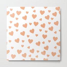 Hearts pattern - peach Metal Print