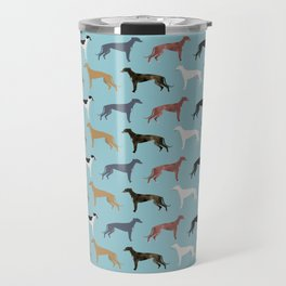 Greyhound Dog pet portrait dog lover must have gifts perfect christmas present for dog person Travel Mug