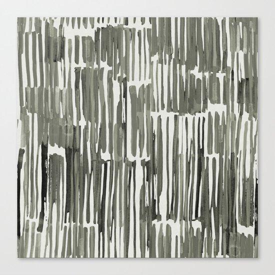 Simply Bamboo Brushstroke Green Tea on Lunar Gray Canvas Print