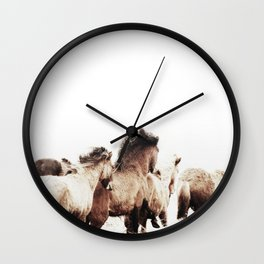WILD AND FREE 2 - HORSES OF ICELAND Wall Clock
