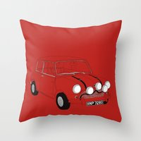 mini cooper Throw Pillows featuring The Italian Job Red Mini Cooper by Martin Lucas
