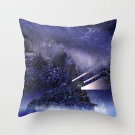 Snowy Night Train Throw Pillow
