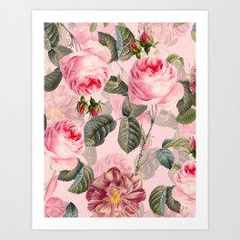 Vintage & Shabby Chic - Summer Roses Garden Art Print