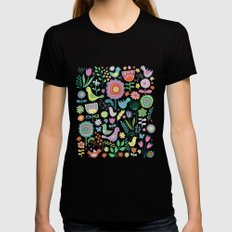 Birds & Blooms - Pastels on Black Black Womens Fitted Tee LARGE