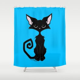 Black Cat - Cool Blue Shower Curtain