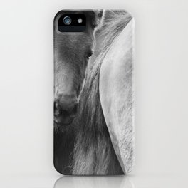 Original horses photo. Black & White, fine art, animal photography, landscape, b&w iPhone Case