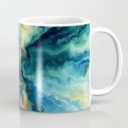 Marbled Ocean Abstract, Navy, Blue, Teal, Green Coffee Mug