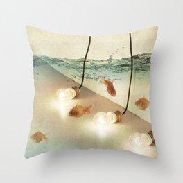 ideas and goldfish Throw Pillow